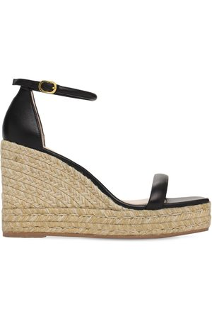 Stuart Weitzman 80mm Nudist Leather Espadrille Wedges