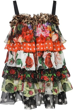 Dolce & Gabbana Ruffled Patchwork Chiffon Mini Dress