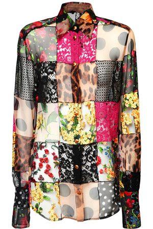 Dolce & Gabbana Crepe De Chine & Lace Patchwork Shirt