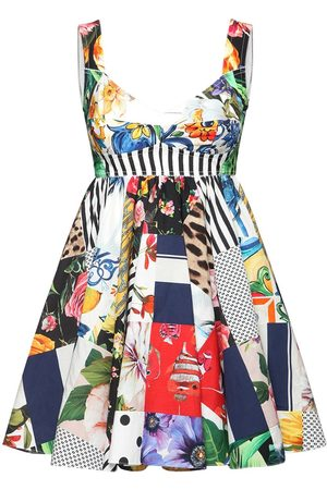 Dolce & Gabbana Patchwork Print Cotton Poplin Dress