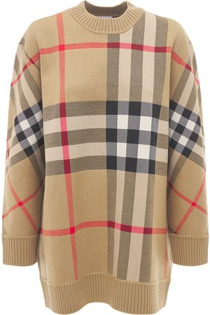 Burberry Women Sweaters - Calee Wool Blend Check Crewneck Sweater