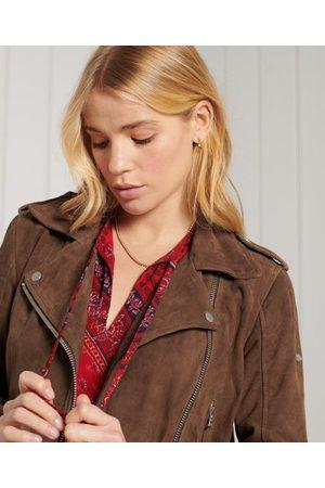Superdry Women Leather Jackets - Classic Suede Biker Jacket