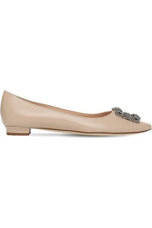 Manolo Blahnik 10mm Hangisi Leather Flats