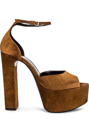 Saint Laurent Jodie Platform Sandals in Brown
