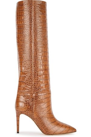 PARIS TEXAS Women Thigh High Boots - 85 crocodile-effect leather knee-high boots