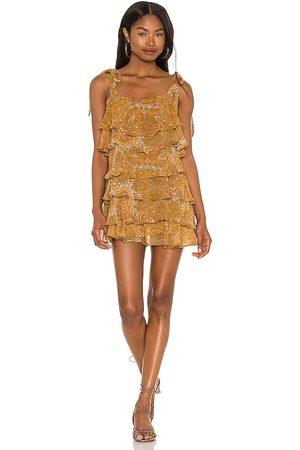 Show Me Your Mumu Rowen Ruffle Dress in Tan.