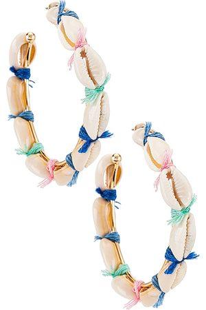 Casa Clara Bradshaw Shell Hoop Earrings in White.