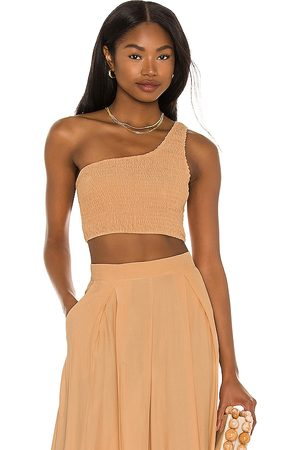 SWF Asymmetrical Crop Top in Beige.