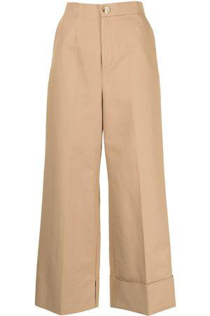 ENFÖLD Women Wide Leg Pants - Wide-leg cotton trousers