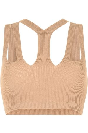 DION LEE Ribbed knit cropped top