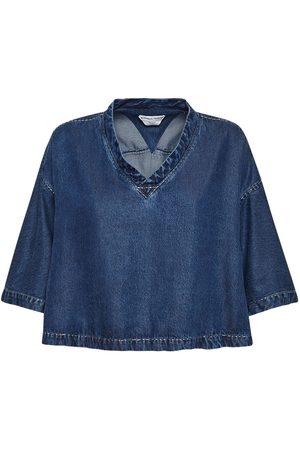 Bottega Veneta Fluid Denim Short Sleeve Top