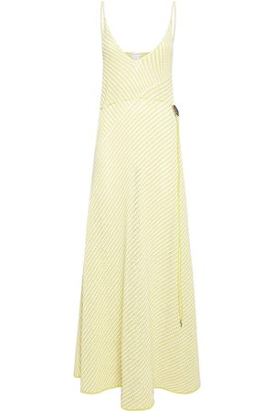 Bottega Veneta Striped Cotton Mesh Long Dress