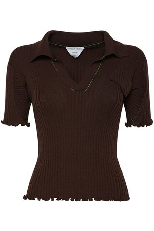 Bottega Veneta Wool Rib Knit Polo Sweater