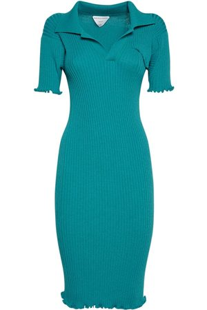 Bottega Veneta Wool Rib Knit Midi Dress