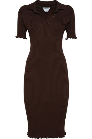 Bottega Veneta Women Knitted Dresses - Wool Rib Knit Midi Dress