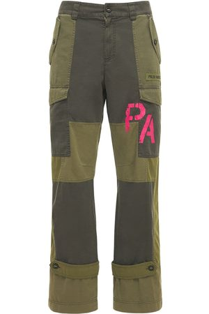Palm Angels Men Cargo Pants - Patchwork Military Canvas Cargo Pants