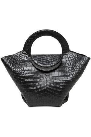 Bottega Veneta Croc Embossed Leather Top Handle Bag