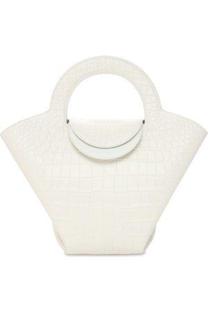 Bottega Veneta Women Bags - Croc Embossed Leather Top Handle Bag