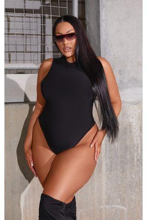 PrettyLittleThing Plus Slinky High Neck Sleeveless Bodysuit
