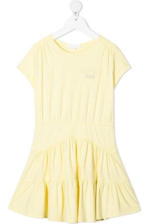 Chloé Girls Casual Dresses - Embroidered-logo cotton dress