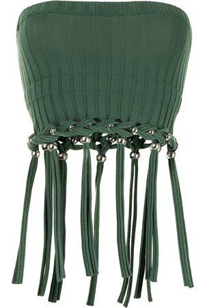 DION LEE Strapless tassel-trim top
