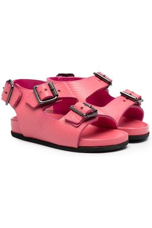GALLUCCI Girls Sandals - Buckle-strap leather sandals