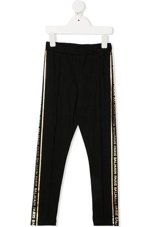 Balmain Girls Sweatpants - Metallic logo track trousers