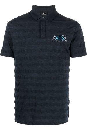 Armani Exchange Men Polo Shirts - Embroidered-logo cotton-blend polo shirt