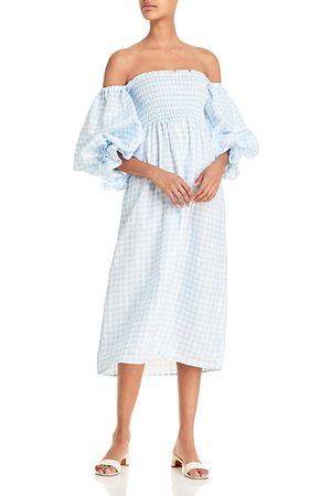 Sleeper Women Strapless Dresses - Atlanta Off-the-Shoulder Smocked Linen Dress