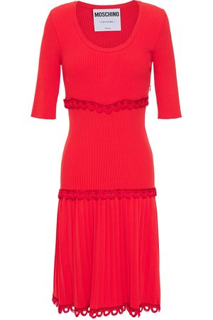 Moschino Women Knitted Dresses - Woman Picot-trimmed Pleated Ribbed-knit Dress Size 38
