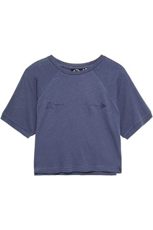 The Upside Women T-shirts - Woman Cropped Printed Cotton And Linen-blend Jersey T-shirt Storm Size 10
