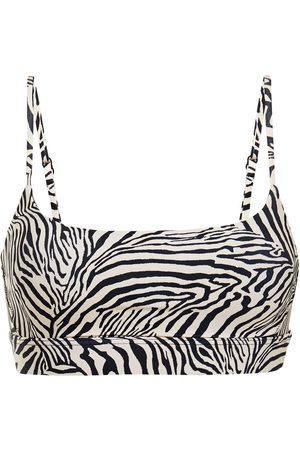 The Upside Woman Natacha Zebra-print Stretch Sports Bra Animal Print Size 4