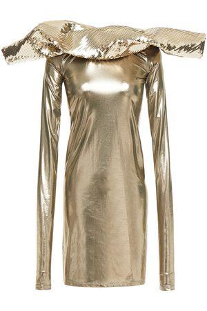 Rick Owens Women Party Dresses - Woman Paneled Sequin-embellished Lamé Mini Dress Bronze Size 40