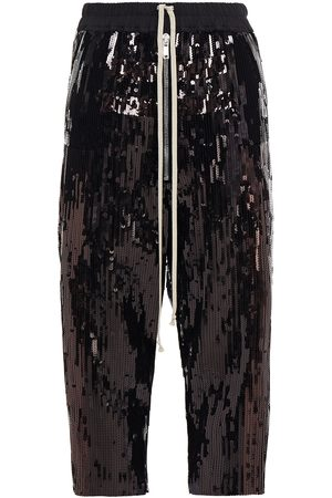 Rick Owens Women Sweatpants - Woman Bela Cropped Sequined Cotton Track Pants Size 38