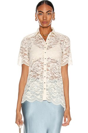Paco rabanne Short Sleeve Lace Shirt in Ivory