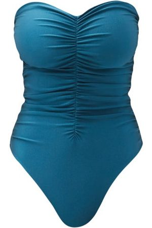 Jade Swim Yara Ruched Strapless Swimsuit - Womens - Dark