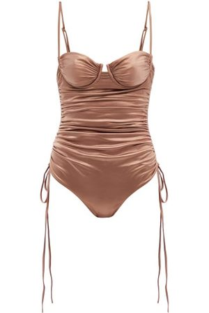 Isa Boulder Nina Ruched Metallic Swimsuit - Womens