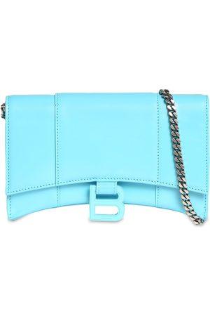 Balenciaga Shiny Box Leather Hour Wallet W/chain