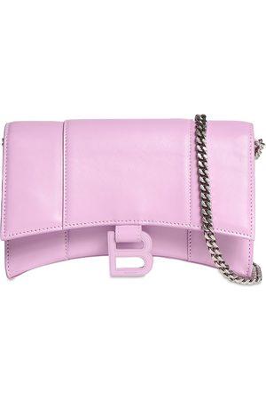 Balenciaga Women Wallets - Shiny Box Leather Hour Wallet W/chain