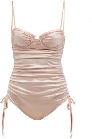 Isa Boulder Nina Ruched Metallic Swimsuit - Womens - Light