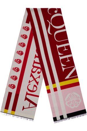 Alexander McQueen Block Logo Wool Blend Knit Scarf