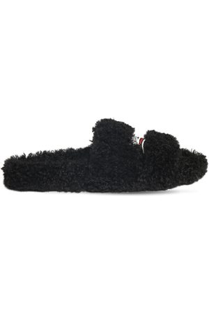 Balenciaga Political Logo Furry Slide Sandals