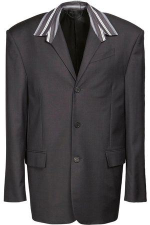 Balenciaga Men Shirts - Tailored Wool Shirt Jacket