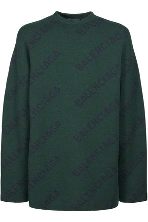 Balenciaga Men Sweaters - All Over Logo Wool Knit Sweater