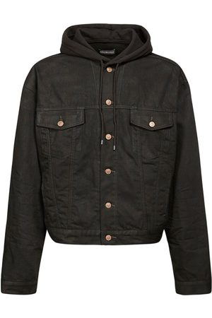 Balenciaga Men Denim Jackets - Logo Patch Hooded Japanese Denim Jacket