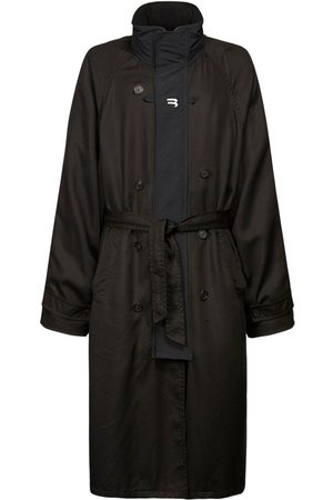 Balenciaga Men Trench Coats - B Print Tech Gabardine Sport Trench Coat