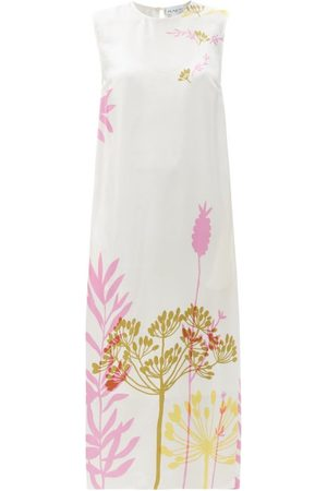 Raey Neon Floral-print Silk Shift Dress - Womens - Ivory Multi
