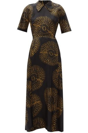 Raey Women Printed Dresses - Batik-print Silk Tea Dress - Womens - Print