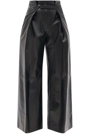Jil Sander Women Leather Pants - Belted High-rise Leather Wide-leg Trousers - Womens
