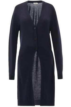 Jil Sander V-neck Wool Longline Cardigan - Womens - Navy